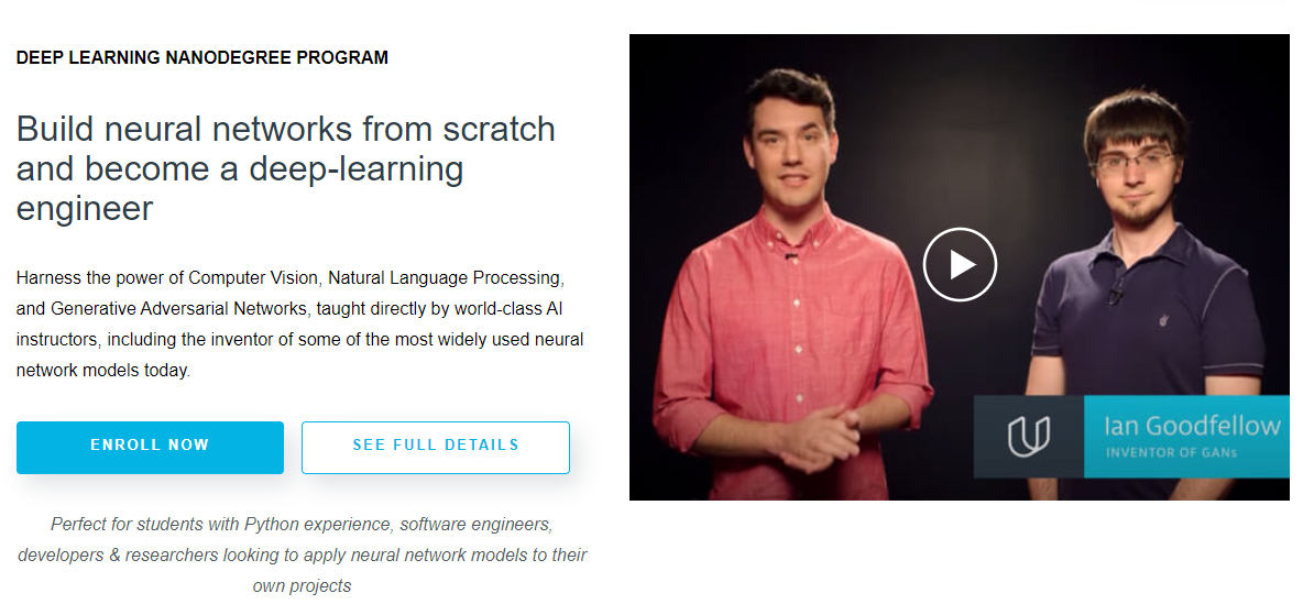 Learn Deep Learning Online with Udacity