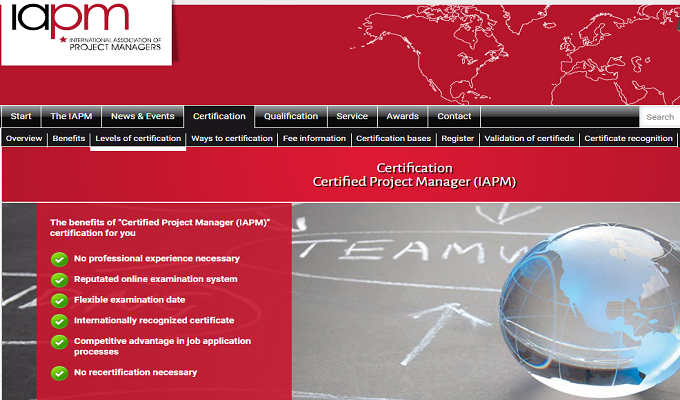 Certification Certified Project Manager (IAPM)