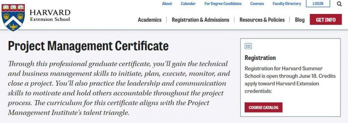 Harvard project management certification
