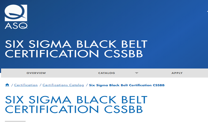 SIX SIGMA BLACK BELT CERTIFICATION CSSBB